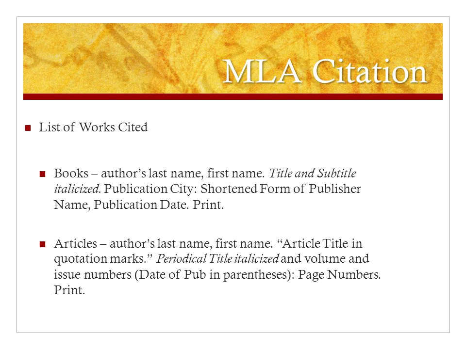 MLA Citation List of Works Cited