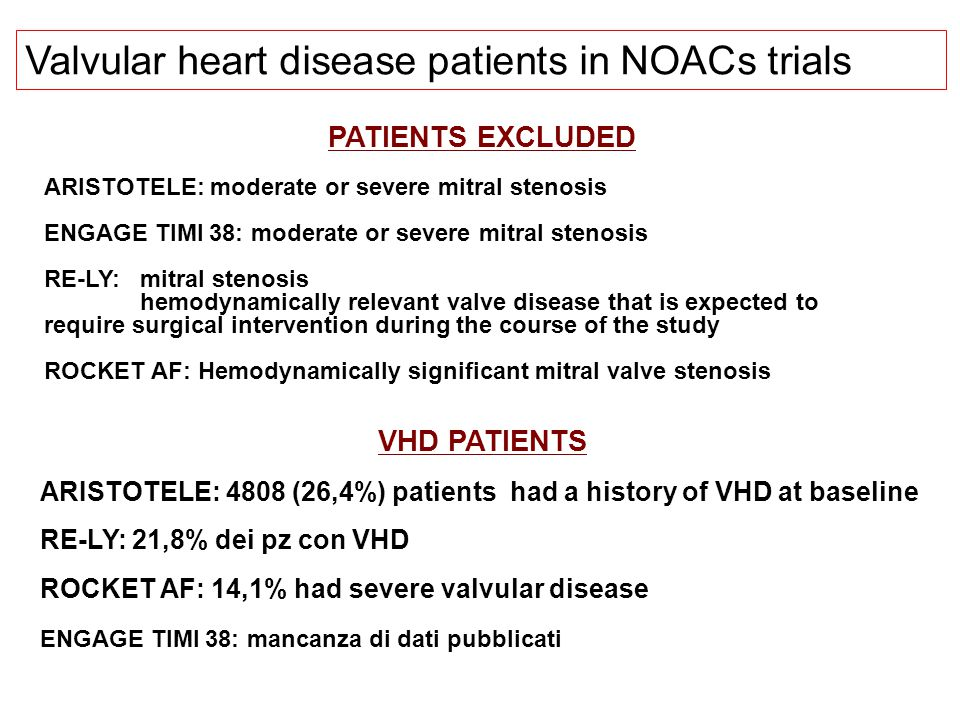 Valvular heart disease patients in NOACs trials