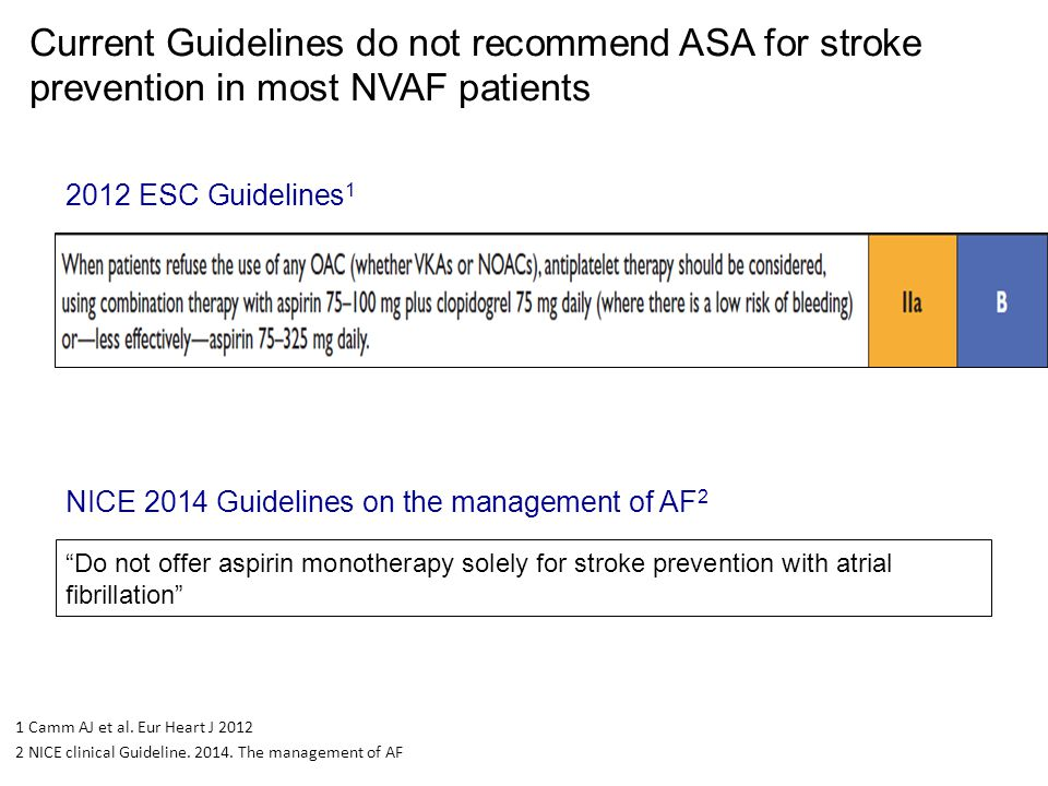 Current Guidelines do not recommend ASA for stroke