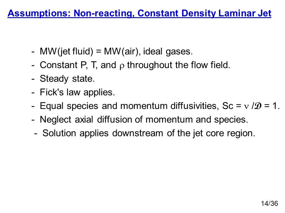 Assumptions: Non-reacting, Constant Density Laminar Jet