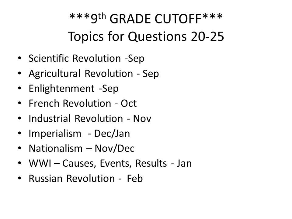 ***9th GRADE CUTOFF*** Topics for Questions 20-25