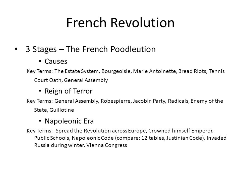 French Revolution 3 Stages – The French Poodleution Causes
