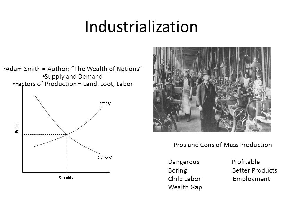 Industrialization Adam Smith = Author: The Wealth of Nations