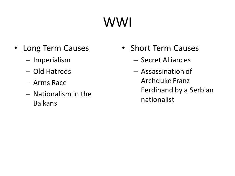 WWI Long Term Causes Short Term Causes Imperialism Old Hatreds