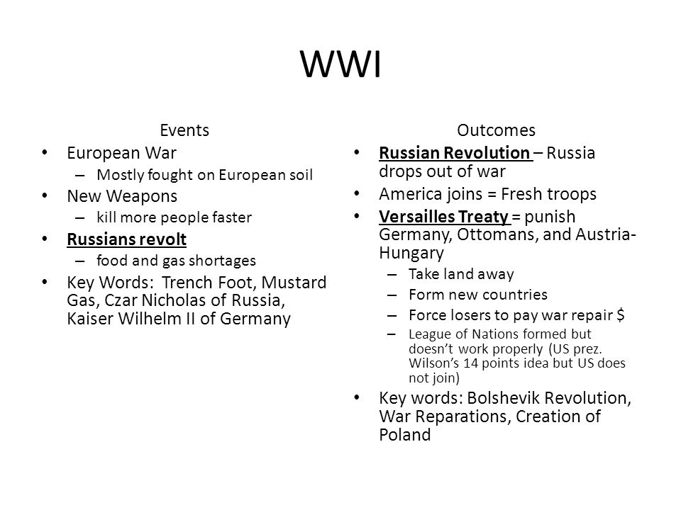 WWI Events European War New Weapons Russians revolt