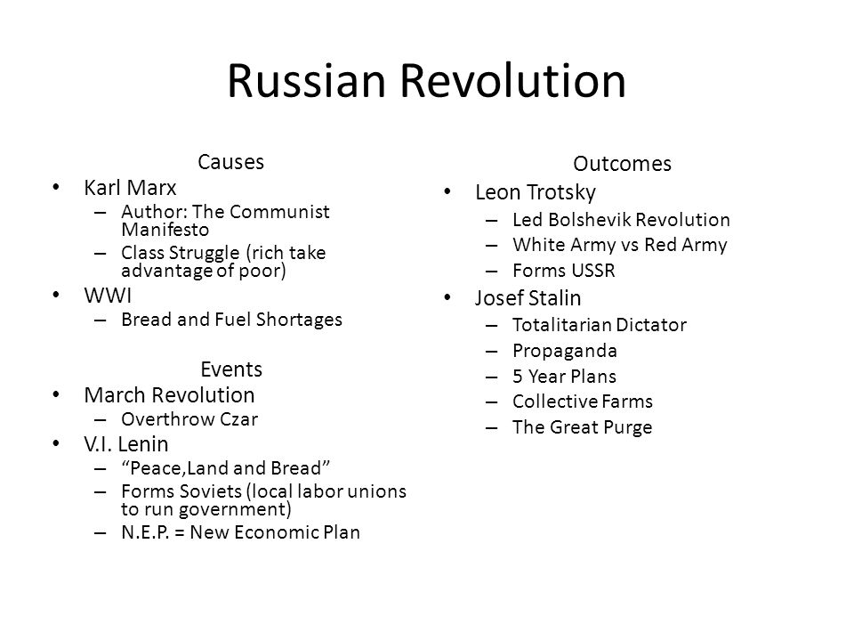 Russian Revolution Causes Karl Marx WWI Events March Revolution