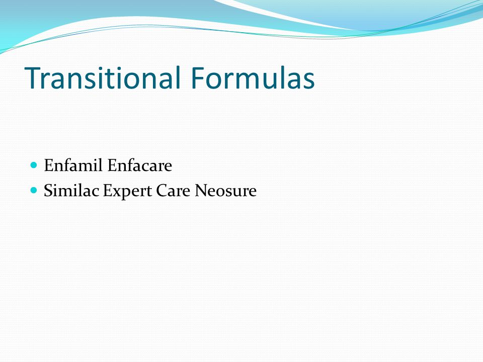 Transitional Formulas