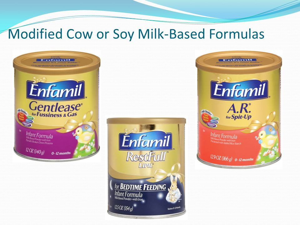 Modified Cow or Soy Milk-Based Formulas