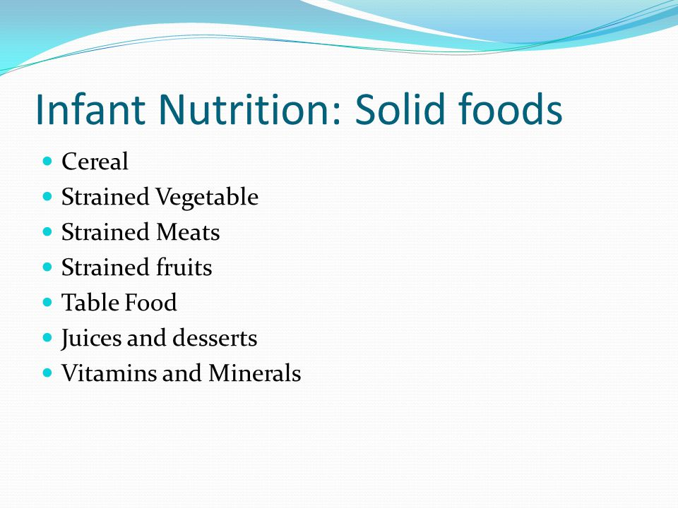 Infant Nutrition: Solid foods