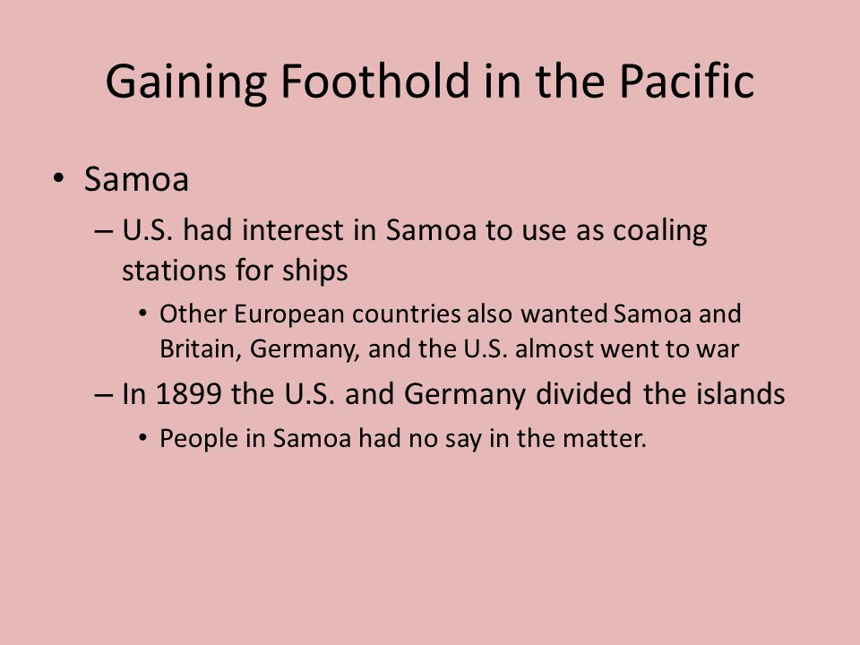 Gaining Foothold in the Pacific