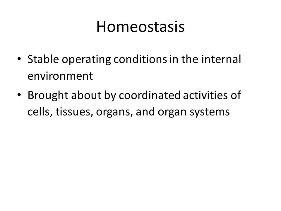 Homeostasis Stable operating conditions in the internal environment