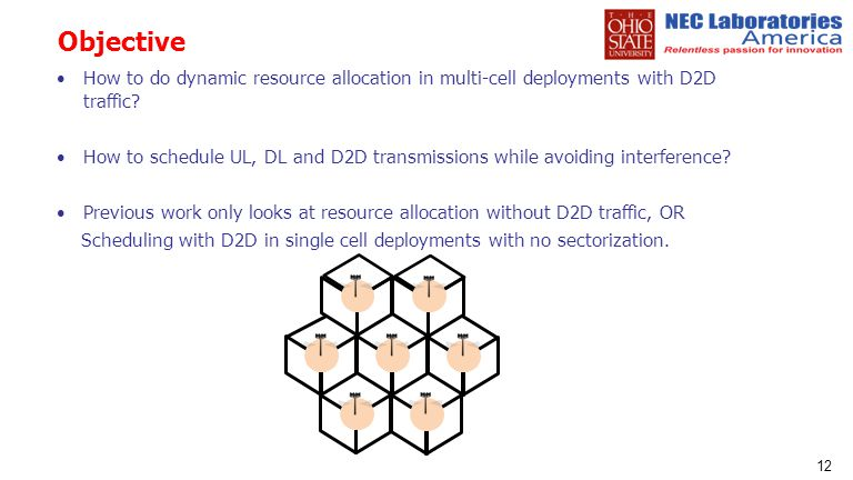 Objective How to do dynamic resource allocation in multi-cell deployments with D2D traffic