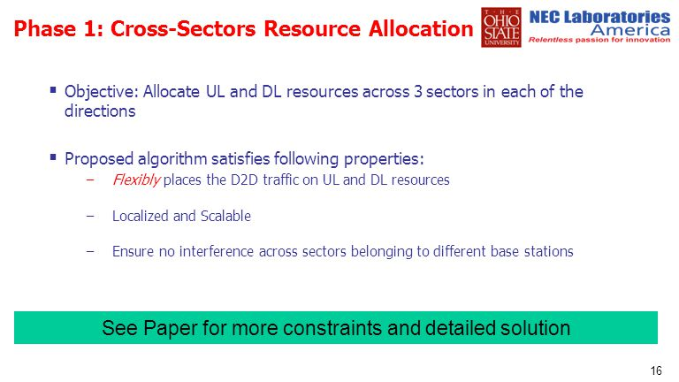 Phase 1: Cross-Sectors Resource Allocation