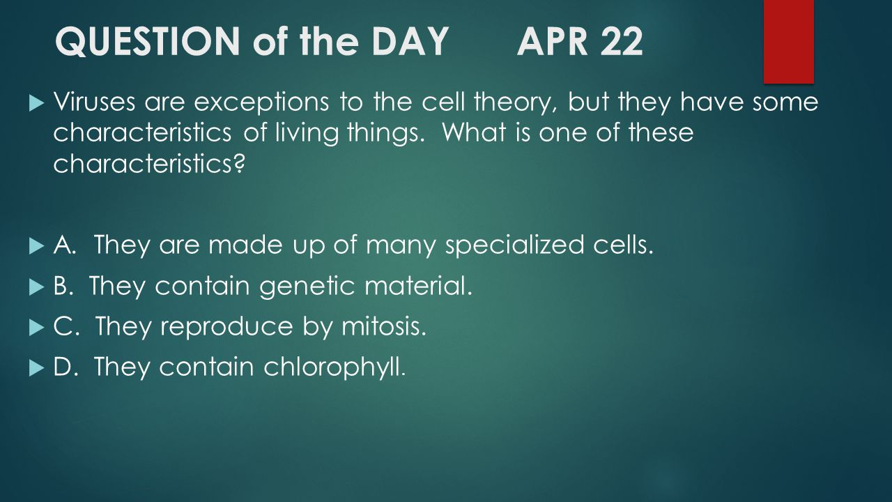 QUESTION of the DAY APR 22