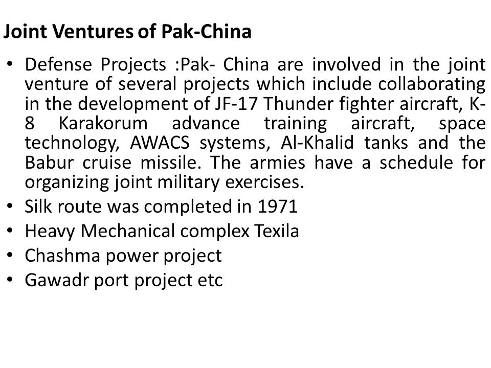 Joint Ventures of Pak-China