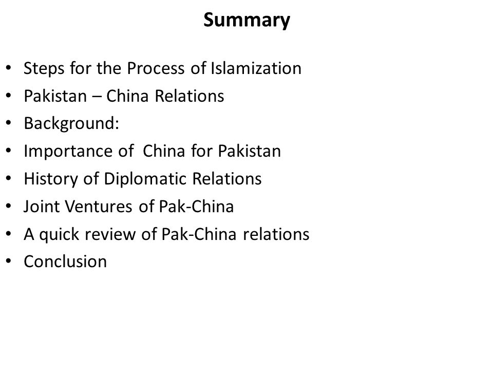 Summary Steps for the Process of Islamization