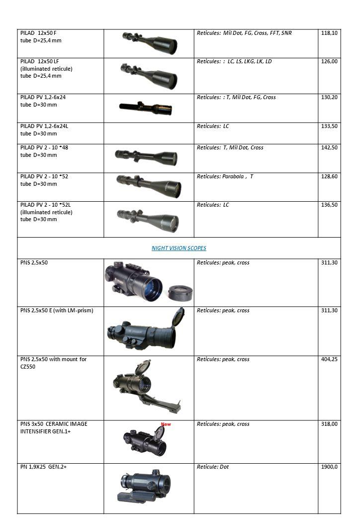 PILAD 12х50 F tube D=25,4 mm. Reticules: Mil Dot, FG, Cross, FFT, SNR. 118,10. PILAD 12х50 LF.