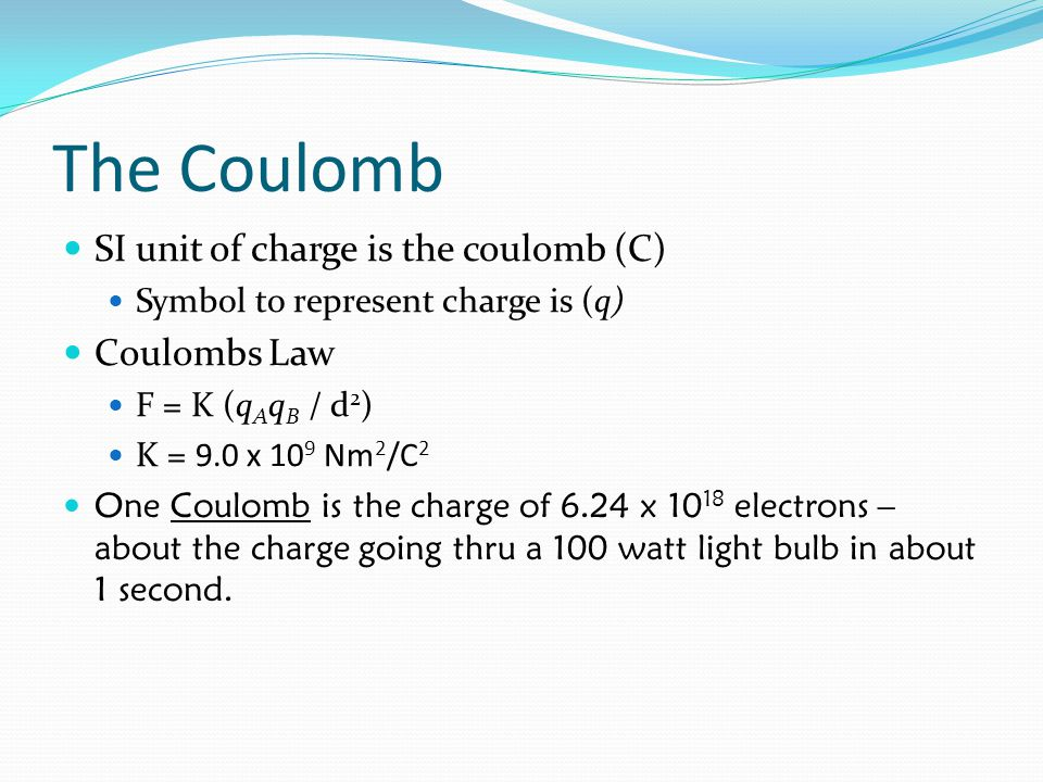 The Coulomb SI unit of charge is the coulomb (C) Coulombs Law