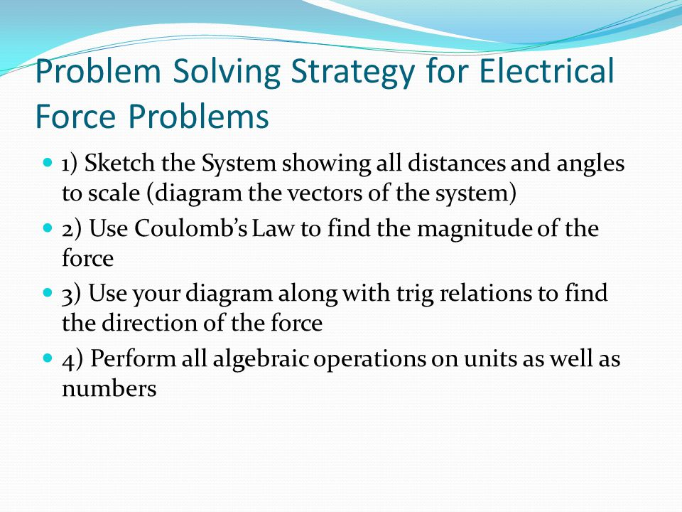 Problem Solving Strategy for Electrical Force Problems
