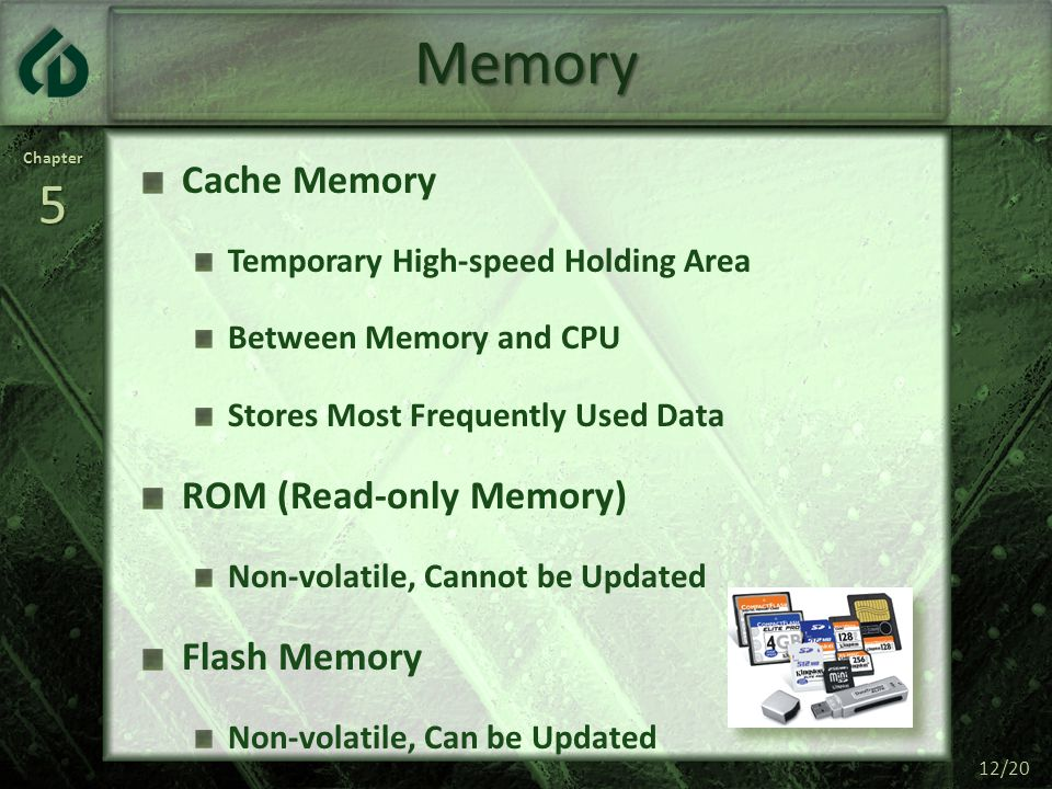 Memory Cache Memory ROM (Read-only Memory) Flash Memory