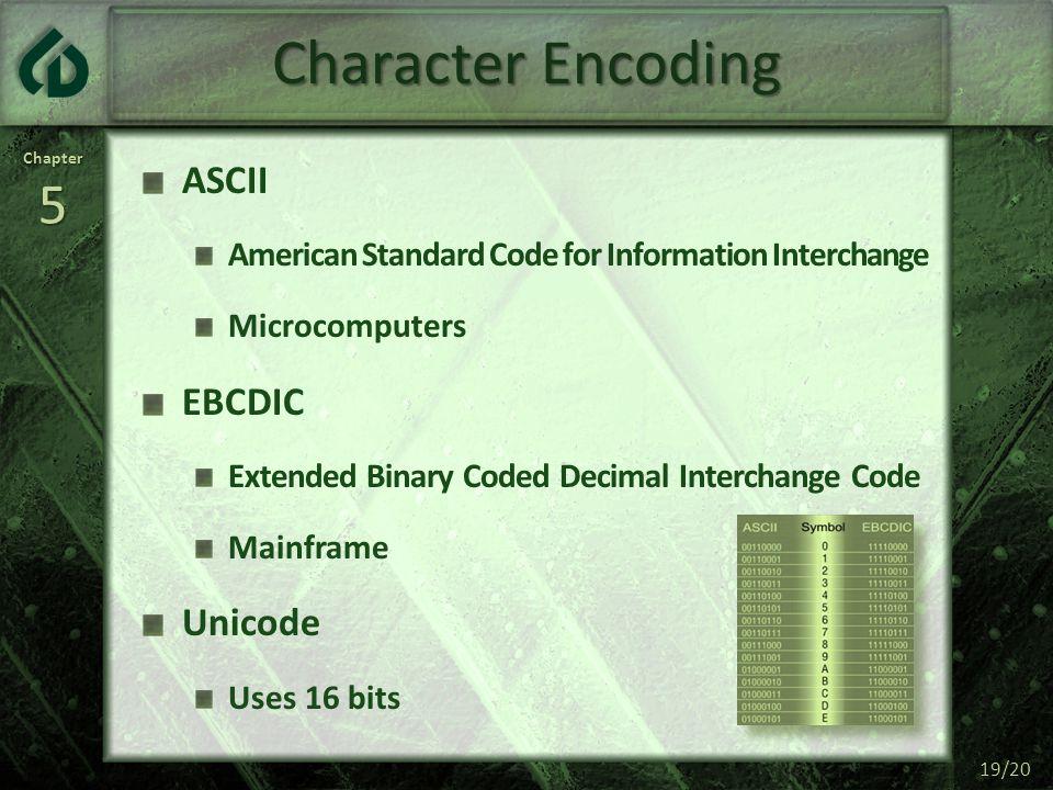 Character Encoding ASCII EBCDIC Unicode