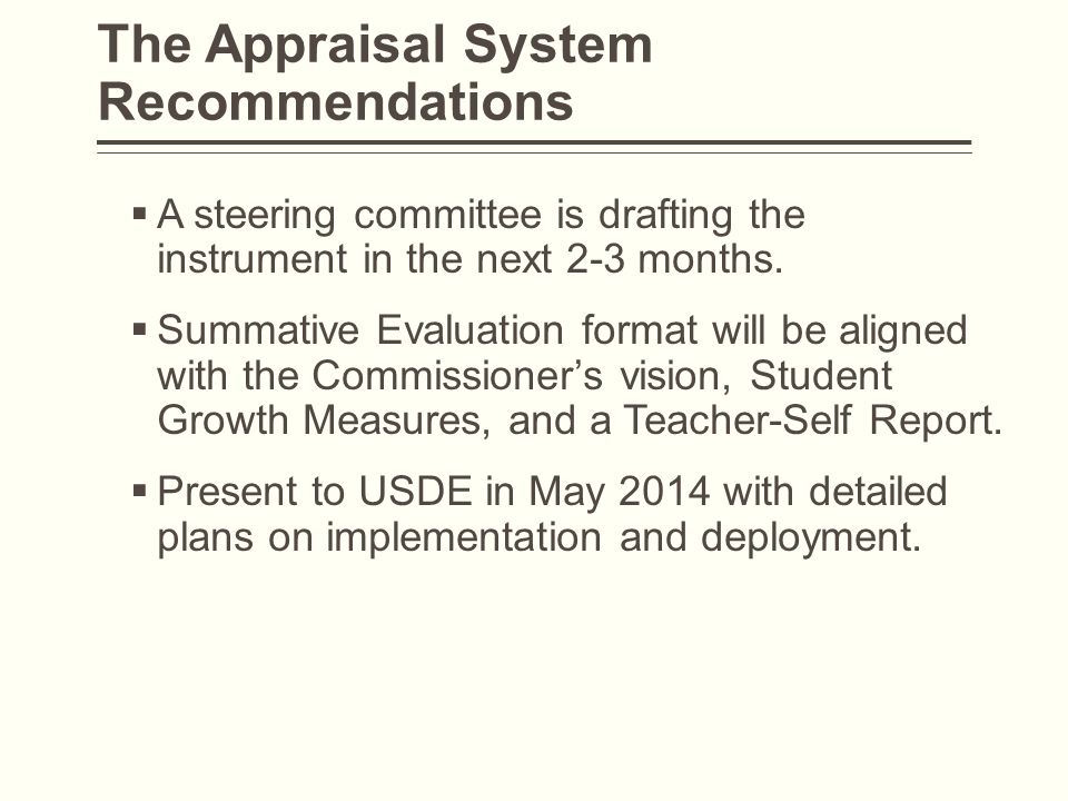 The Appraisal System Recommendations