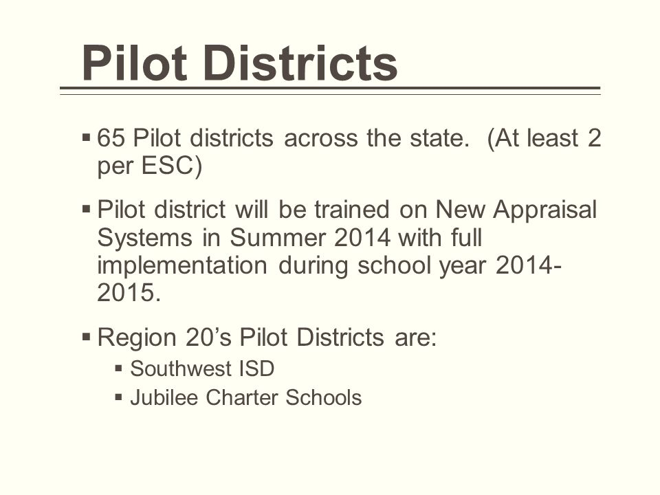 Pilot Districts 65 Pilot districts across the state. (At least 2 per ESC)