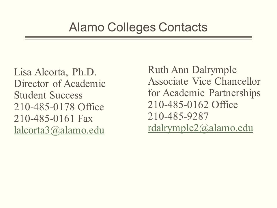 Alamo Colleges Contacts