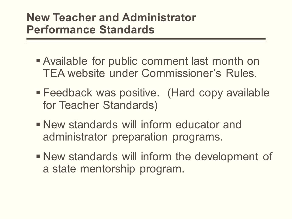 New Teacher and Administrator Performance Standards