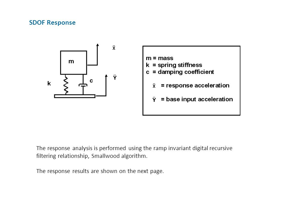 SDOF Response The response analysis is performed using the ramp invariant digital recursive filtering relationship, Smallwood algorithm.