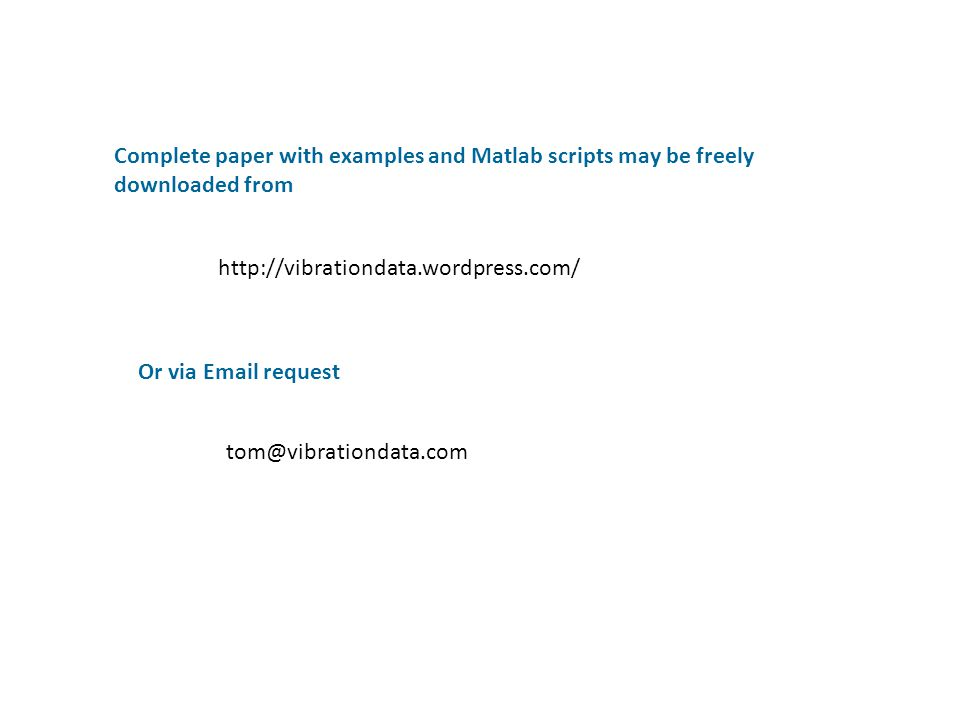 Complete paper with examples and Matlab scripts may be freely downloaded from
