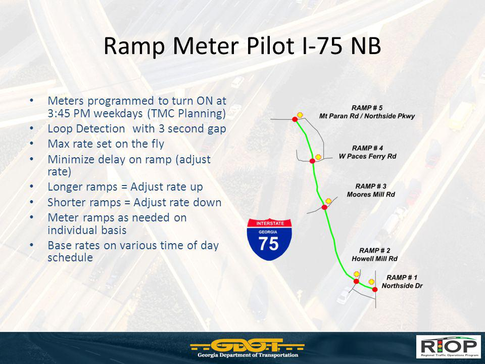 Ramp Meter Pilot I-75 NB Meters programmed to turn ON at 3:45 PM weekdays (TMC Planning) Loop Detection with 3 second gap.