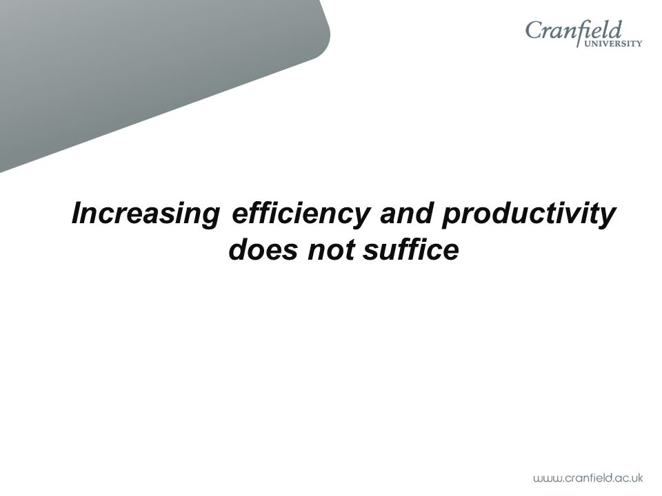 Increasing efficiency and productivity does not suffice