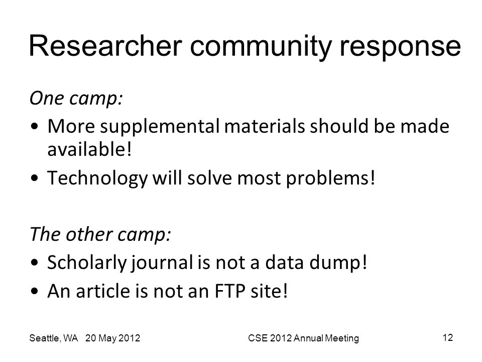 Researcher community response