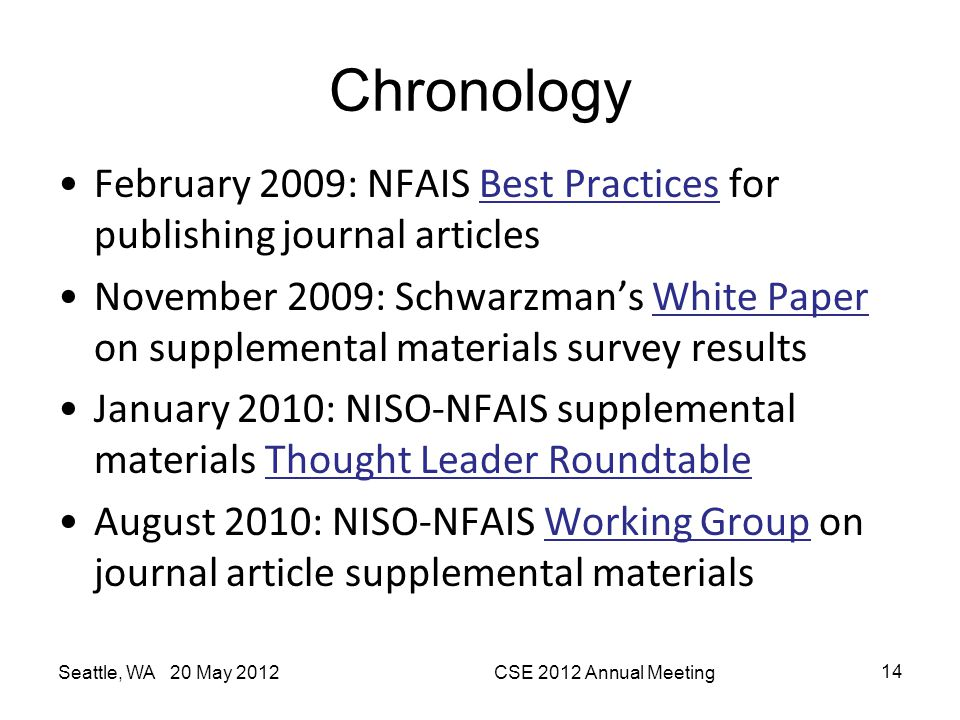 Chronology February 2009: NFAIS Best Practices for publishing journal articles.