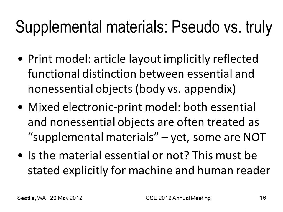 Supplemental materials: Pseudo vs. truly