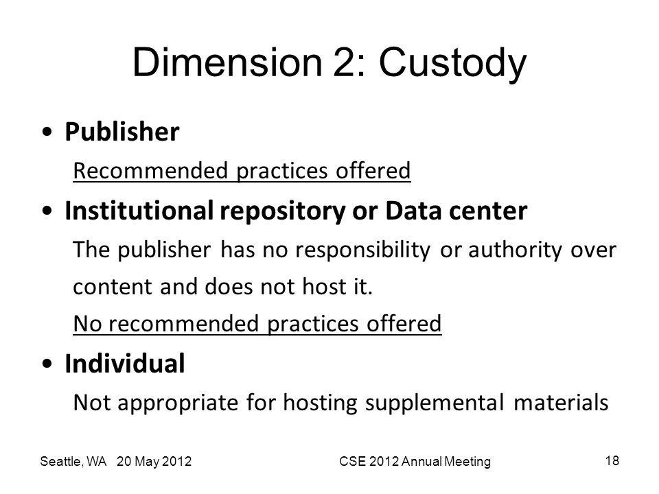 Dimension 2: Custody Publisher Institutional repository or Data center