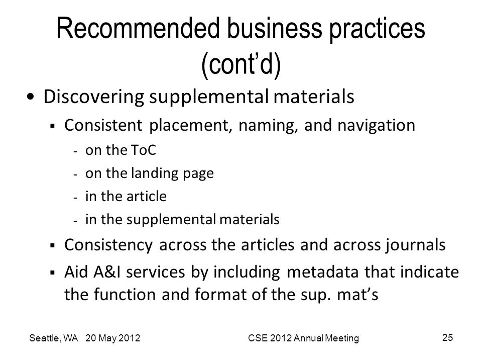 Recommended business practices (cont'd)