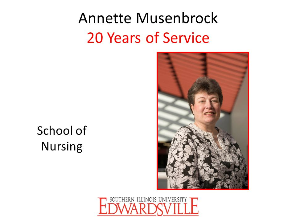 Annette Musenbrock 20 Years of Service