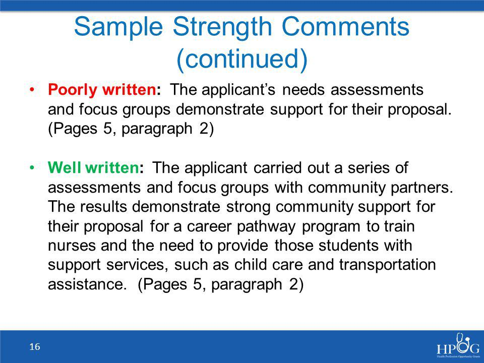 Sample Strength Comments (continued)