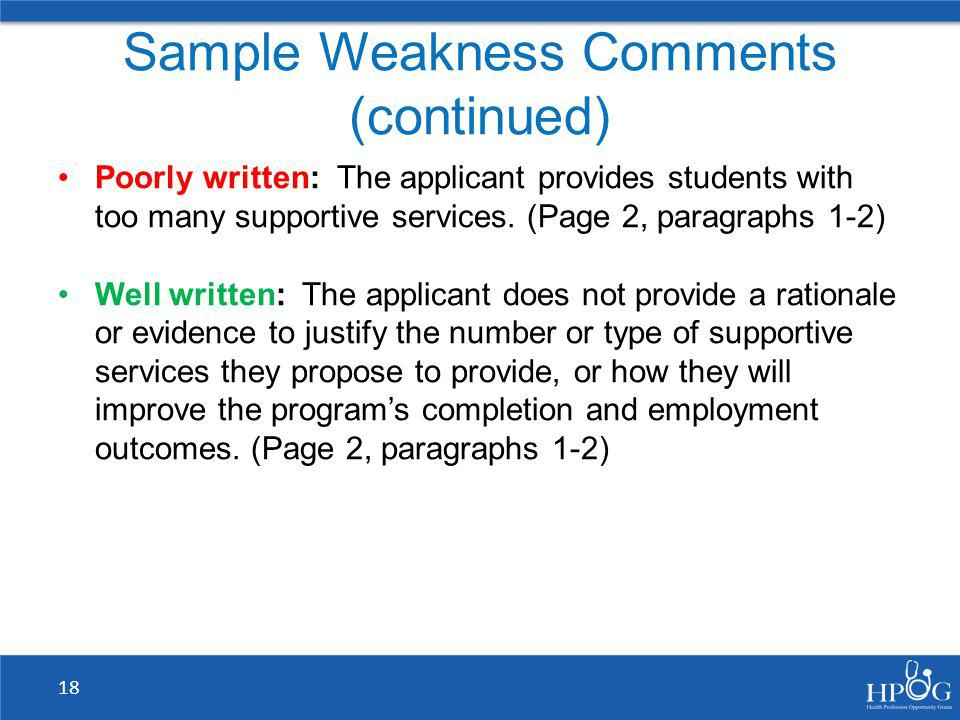 Sample Weakness Comments (continued)