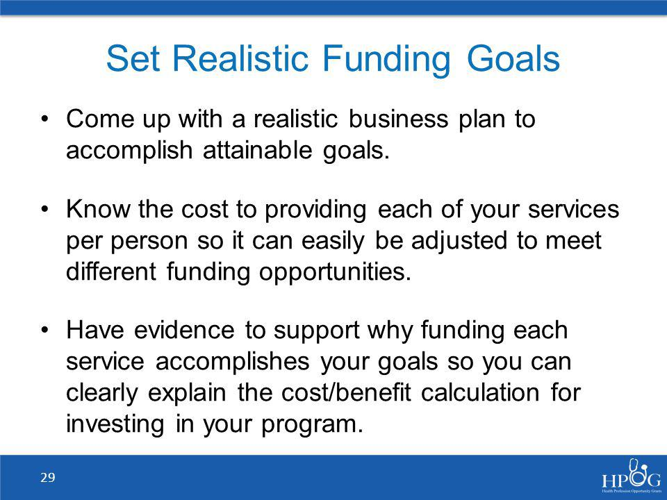 Set Realistic Funding Goals
