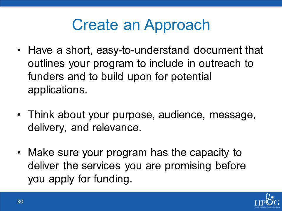 Create an Approach
