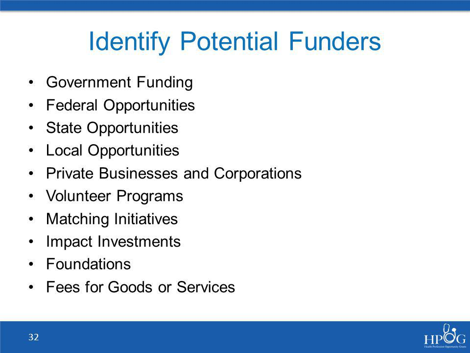 Identify Potential Funders