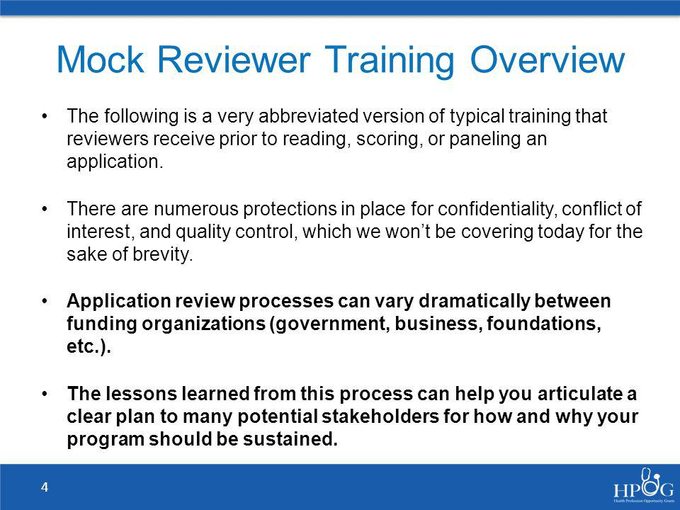 Mock Reviewer Training Overview