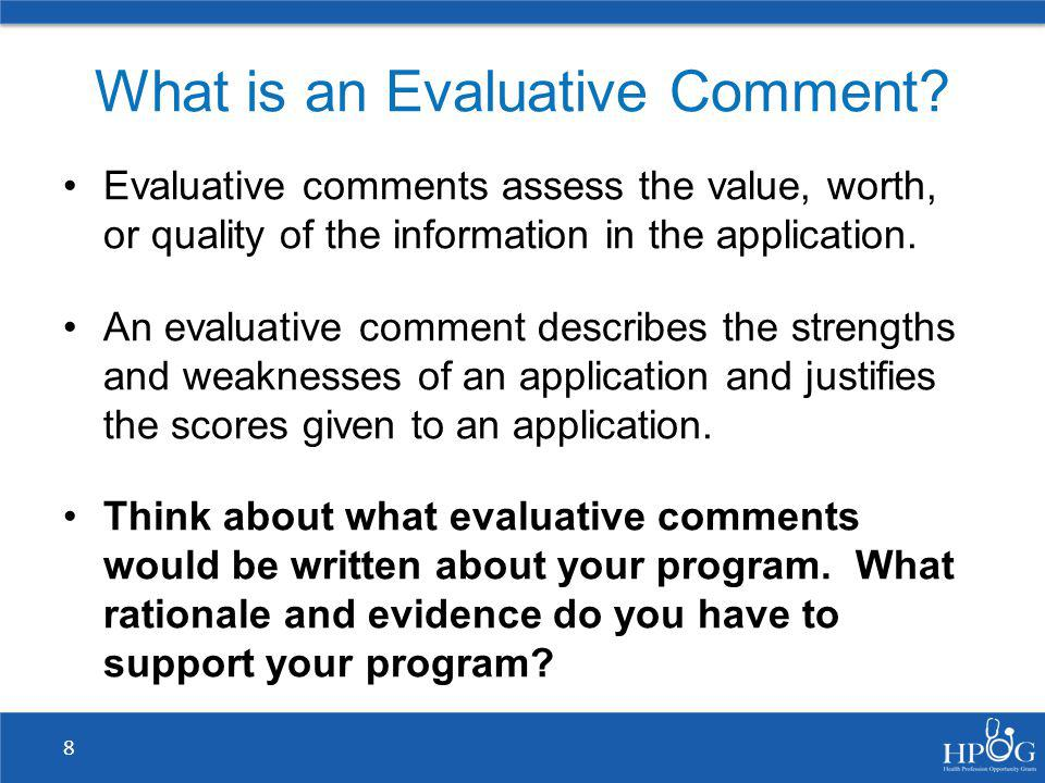 What is an Evaluative Comment