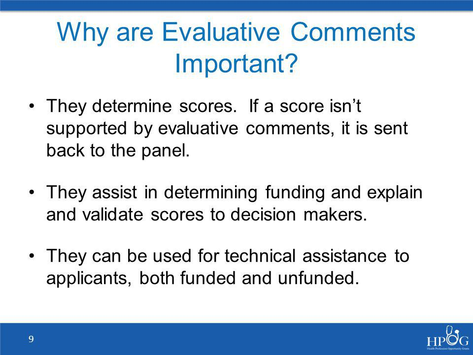 Why are Evaluative Comments Important