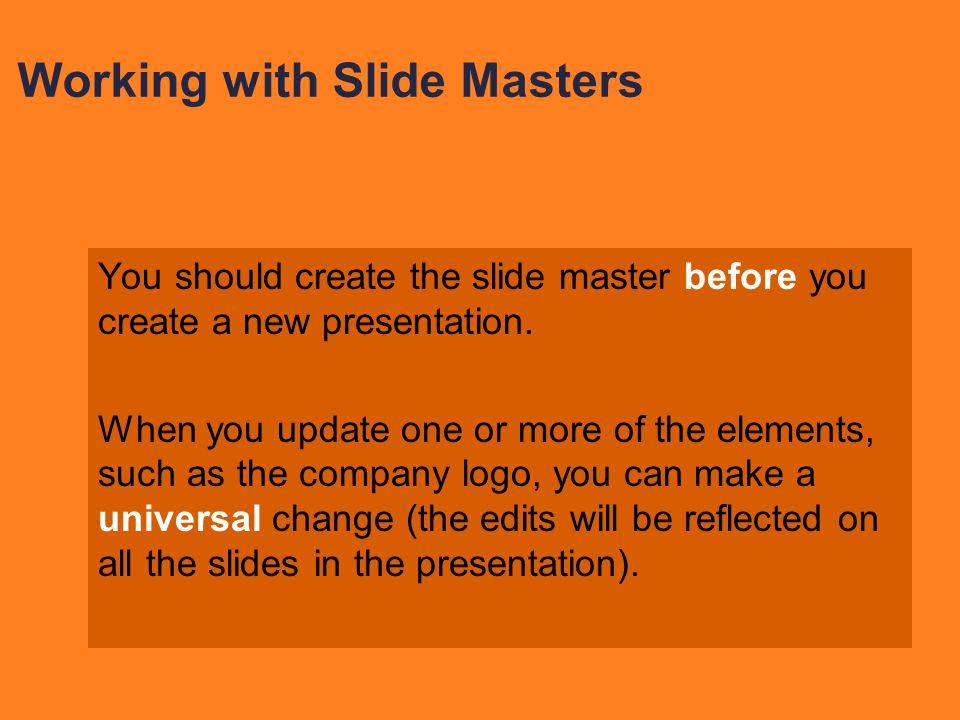 Working with Slide Masters