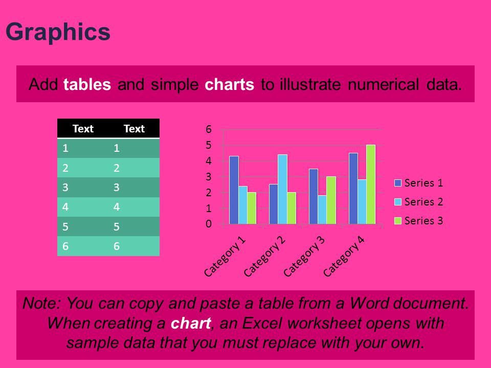 Add tables and simple charts to illustrate numerical data.