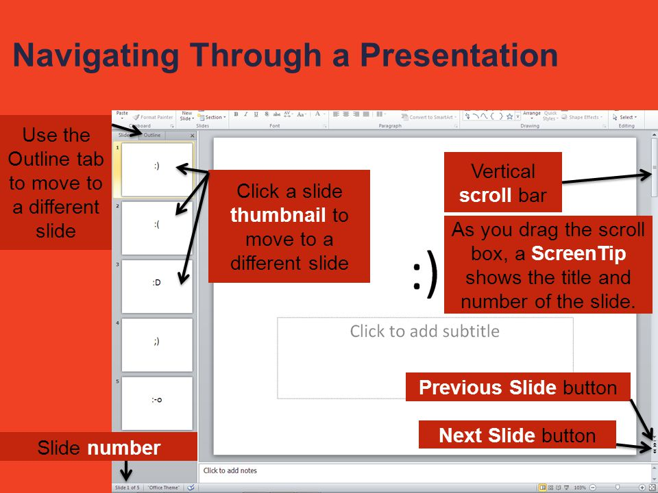 Navigating Through a Presentation